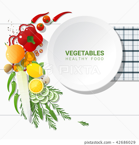 Flat lay Fresh vegetables on white table 42686029