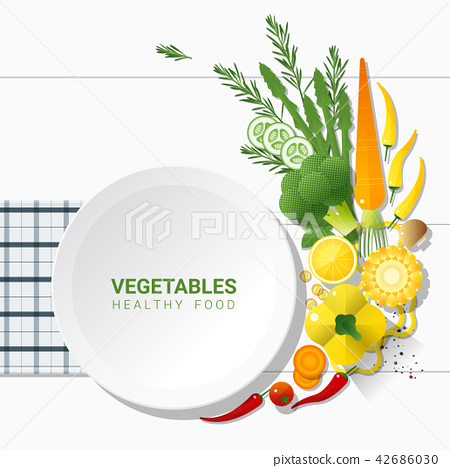 Flat lay Fresh vegetables on white table 42686030