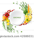 Flat lay Fresh vegetables on white table 42686031