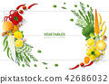 Flat lay Fresh vegetables on white table 42686032