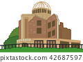 Illustration material of Atomic Bomb Dome 42687597