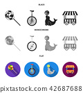 Lollipop, trained seal, snack on wheels, monocycle.Circus set collection icons in black, flat 42687688