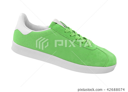 new green sneakers isolated on white 42688074