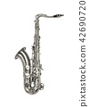 silver saxaphone on the white background 42690720
