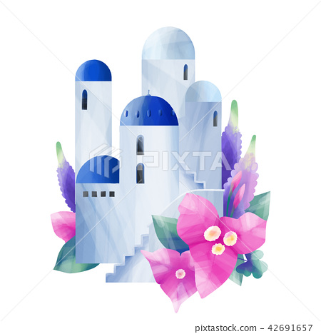 White houses with blue domed roofs 42691657