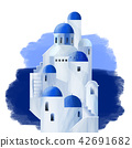 White houses with blue domed roofs 42691682