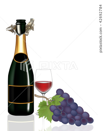 Grape,Bottle wine and Glass wine on white 42692784