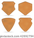Set of leather tag labels on white 42692794
