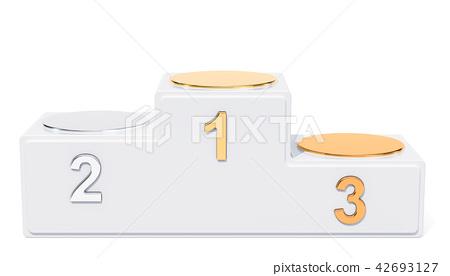 Empty Winners Podium, 3D rendering 42693127
