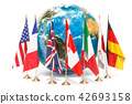 Flags of all members G7 around the Earth Globe 42693158