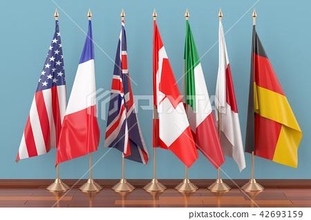 Flags of all members G7, 3D rendering 42693159