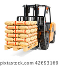 Forklift truck with cement bags, 3D rendering 42693169