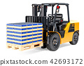 Forklift truck with wooden pallet full of drink 42693172