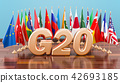 G20 meeting concept, flags of all members G20 42693185