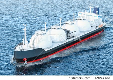Gas tanker sailing in ocean, 3D rendering 42693488
