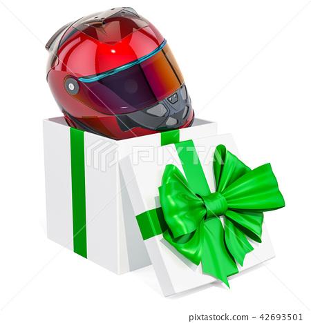 Gift concept, racing helmet inside gift box 42693501