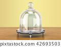Glass Bell or Bell Jar on the wooden table 42693503
