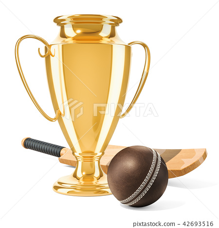 Gold trophy cup award with cricket bat and ball 42693516
