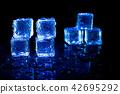 Blue ice cubes reflection on black background. 42695292