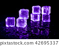 Purple ice cubes reflection on black background. 42695337