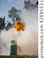 Firefighter with fire and suit for protect fire. 42695531