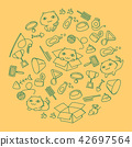 Cat and equipment kids hand drawing set pattern 42697564