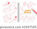 Notebook with kid girl hand drawing set, Imagine 42697585