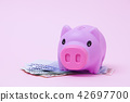 Pink Piggy bank on soft pink background with korea 42697700