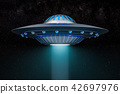 Light beam from flying UFO in space. 3D rendering 42697976