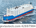 Livestock carrier ship in ocean, 3D rendering 42697984