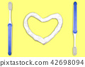 Toothbrush and heart shaped toothpaste. 42698094