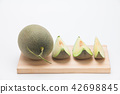 Rock cantaloupe green melon slices isolated on 42698845