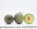Cantaloupe melon slices isolated on white backgrou 42698876
