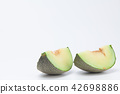Sliced green cantaloupe melon isolated on white 42698886