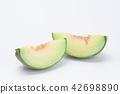 Sliced green cantaloupe melon isolated on white 42698890