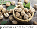 walnuts in a plate on a table 42699413