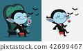 Cute cartoon tiny Dracula drink blood 42699467