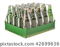 Package of glass drink bottles in shrink film 42699636