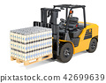 Packages of glass milk bottles in shrink film 42699639