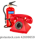 Phone with fire extinguisher, 3D rendering 42699659