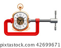 Pocket watch squeezed in a clamp concept 42699671