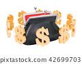 Purse with dollar symbols around, 3D rendering 42699703