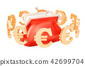 Purse with euro symbols around, 3D rendering 42699704