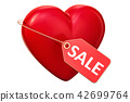 Red heart with price tag, 3D rendering 42699764