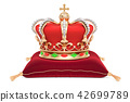 Royal Crown on the red velvet pillow, 3D rendering 42699789