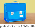 School bag, briefcase on the woden background 42699806