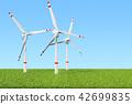 Wind farm, set of wind turbines against blue sky 42699835