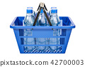 Shopping basket with plastic water bottles 42700003