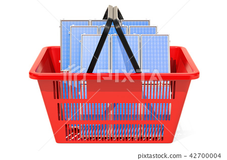 Shopping basket with solar panels, 3D rendering 42700004