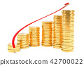Spiral stairs from euro coins with growth red 42700022